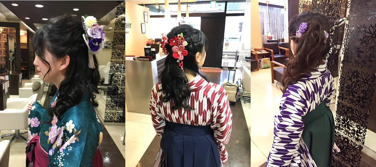 クレオヘア久米川 卒業式の着付け